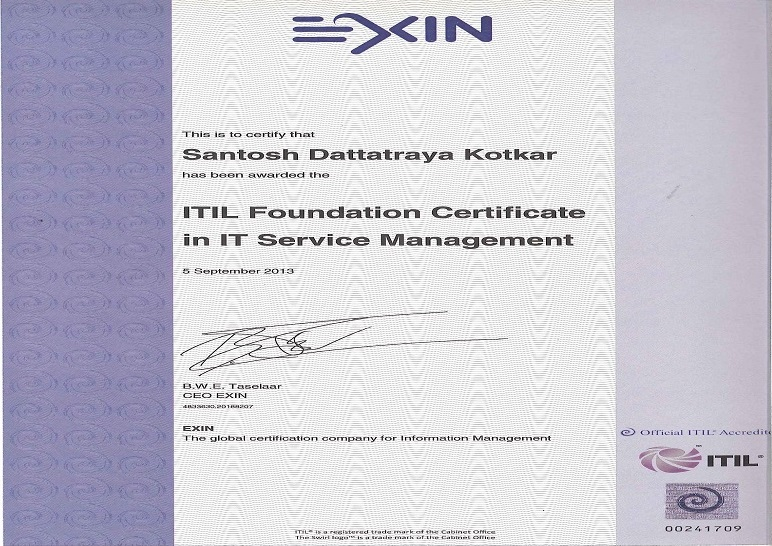 Itil Foundation Certificate In It Service Management Santosh Kotkar